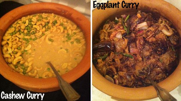 Cashew nut curry (Cadju curry) & Eggplant curry (Vambotu curry)
